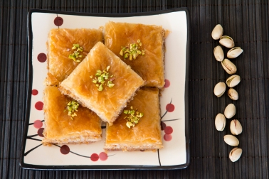 Baklava on a Plate with Pistachios
