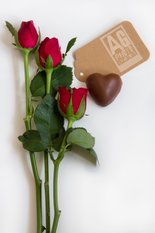 Roses with a Card and a Heart Chocolate