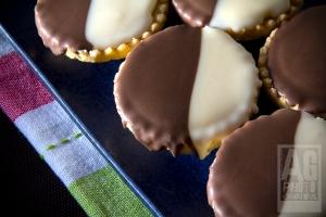 Chocolate and Cream Neenish Tarts on a Platter
