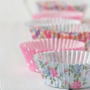 Patterned Muffin Cups in a Line on Table