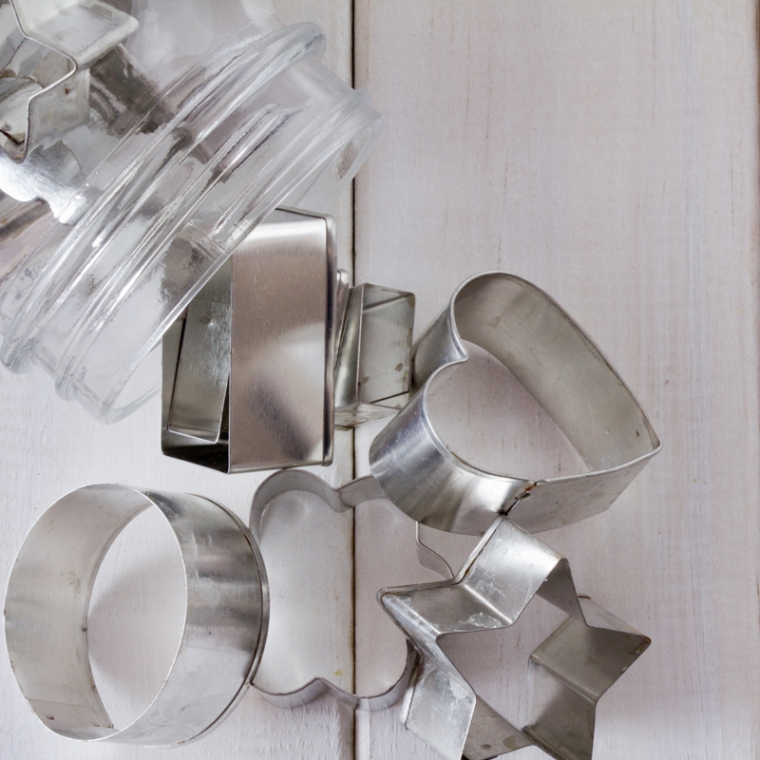 Cookie Cutter Shapes in a Jar with Copy Space from Above