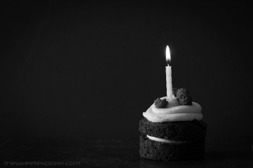 Chocolate Birthday Cupcake with Raspberries and Candle on Dark Background with Copy Space Horizontal