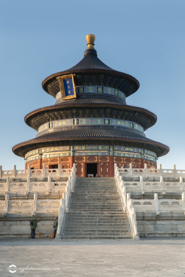 "Temple of Heaven on a Sunny Afternoon with inscription ""Hall of Prayer for Good Harvest"" Beijing China - vertical, No people"