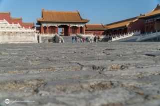 Selective Focus Shot of Ancient Paving Stones in the Forbidden City Beijing China