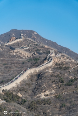 Badaling Section of the Great Wall of China Winding Through the Mountains in Winter