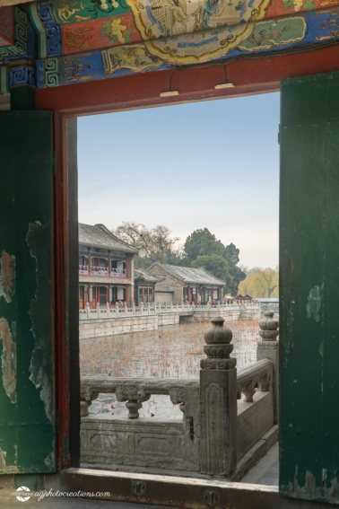 Looking Through an Archway to the Lake at the Summer Palace in Winter, Beijing China